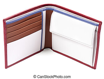 White leather wallet with red stroke and brown pockets isolated on white