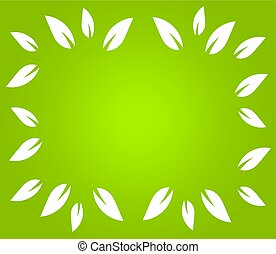 White leaves border on green background