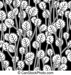 white leaves on twigs, black seamless pattern