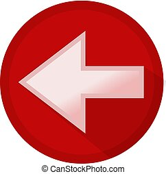 White Left Arrow Button Icon on Red Background