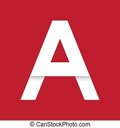 White letter A logo on red background