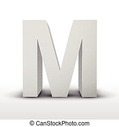 white letter M isolated on white