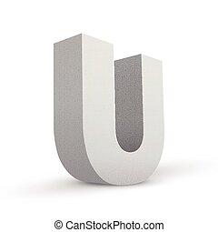 white letter U