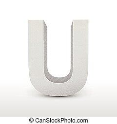 white letter U isolated on white