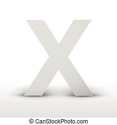 white letter X isolated on white