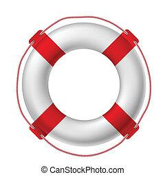 White life buoy, vector illustration.