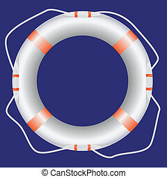 White lifebuoy - Lifebuoy tool for saving drowning. Vector...