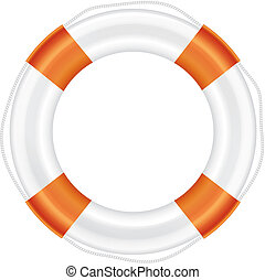 White lifebuoy with orange stripes and rope. - White...