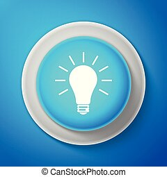 White Light bulb icon isolated on blue background. Circle blue button with white line. Vector Illustration