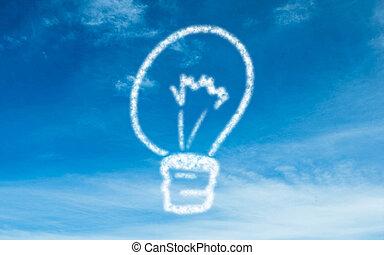 White light bulb in the sky