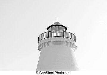 White light house in blue sky