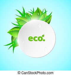 White, light round banner in the summer style. Fresh leaves and grass. Drops of dew flow down the leaves. Ecological banner. Realistic vector illustration