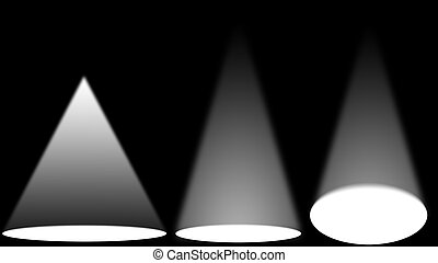 White light sources on black stage
