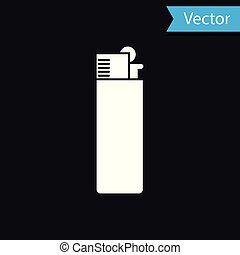 White Lighter icon isolated on black background. Vector Illustration
