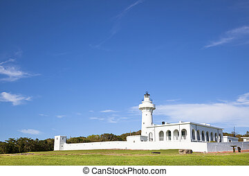 white lighthouse in kenting national park . taiwan