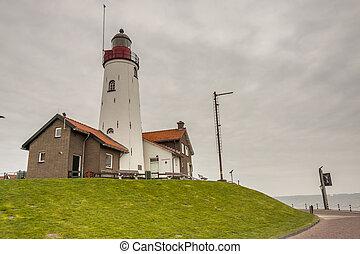 White lighthouse in Urk - Netherlands.