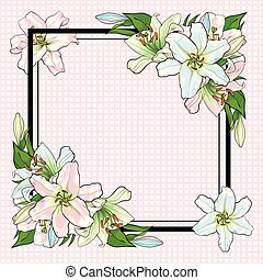 White lilies bouquet elements in sketch style at corners of square shape with copy space.