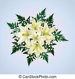 White lily and gypsophila flowers