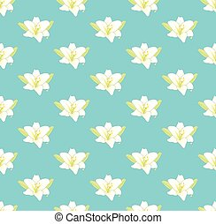 White Lily Flower on Pastel Blue Background