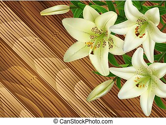 White lily flowers on wood background