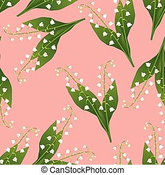 White Lily of the Valley on Pink Background. Vector...