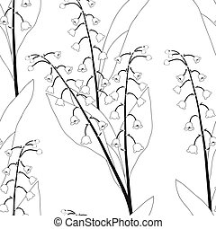 White Lily of the Valley on White Background. Vector...