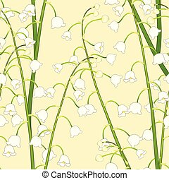 White Lily of the Valley on Yellow Background. Vector...