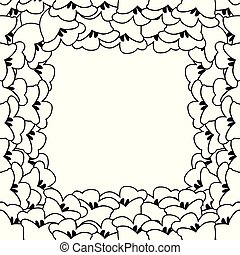 White Lily of the Valley Outline Border.