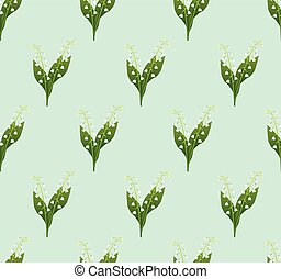 White Lily of the Valley Seamless on Green Mint Background....