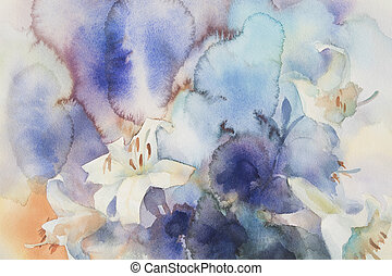 white lily watercolor background