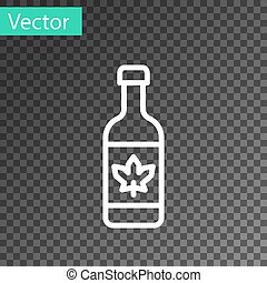 White line Beer bottle icon isolated on transparent background. Vector