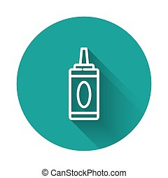 White line Bottle of shampoo icon isolated with long shadow. Green circle button. Vector Illustration