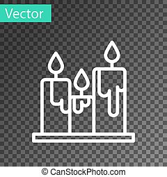 White line Burning candles icon isolated on transparent background. Cylindrical candle stick with burning flame. Vector Illustration