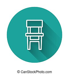 White line Chair icon isolated with long shadow. Green circle button. Vector