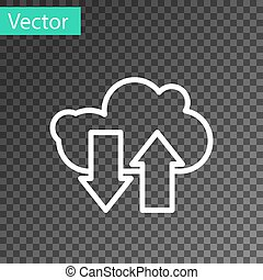 White line Cloud download and upload icon isolated on transparent background. Vector Illustration