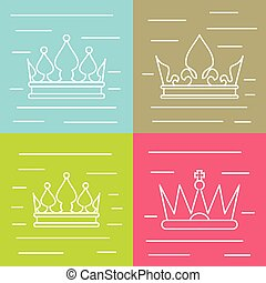 White line crown icons on color background