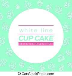 White Line Cup Cake Background Vector Illustration