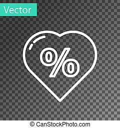White line Discount percent tag in heart icon isolated on transparent background. Shopping tag sign. Special offer sign. Discount coupons symbol.  Vector Illustration