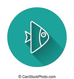 White line Fish icon isolated with long shadow. Green circle button. Vector