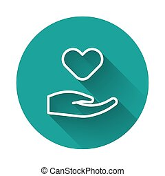 White line Heart in hand icon isolated with long shadow. Hand giving love symbol. Valentines day symbol. Green circle button. Vector