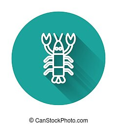 White line Lobster icon isolated with long shadow. Green circle button. Vector