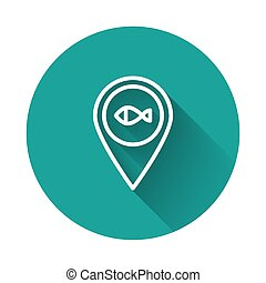 White line Location fishing icon isolated with long shadow. Fishing place. Green circle button. Vector
