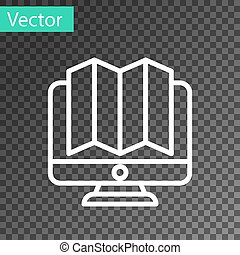 White line Location of the forest on a map in monitor icon isolated on transparent background. Vector Illustration