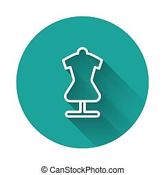 White line Mannequin icon isolated with long shadow. Tailor dummy. Green circle button. Vector