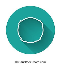 White line Moon icon isolated with long shadow. Green circle button. Vector Illustration
