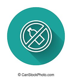 White line No plastic bottle icon isolated with long shadow. Green circle button. Vector Illustration