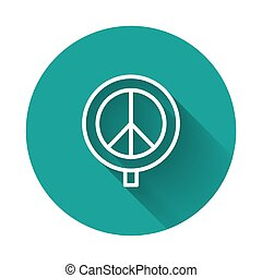 White line Peace icon isolated with long shadow. Hippie symbol of peace. Green circle button. Vector