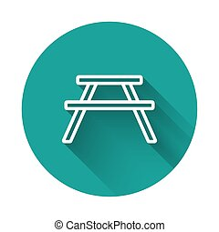 White line Picnic table with benches on either side of the table icon isolated with long shadow. Green circle button. Vector Illustration