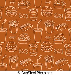 White line seamless pattern with fast food