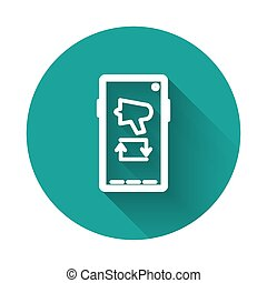 White line Spread the word, megaphone on mobile phone icon isolated with long shadow. Green circle button. Vector Illustration